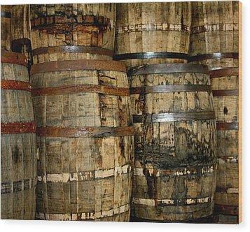 Old Wood Whiskey Barrels Wood Print