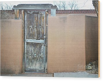Wood Print featuring the photograph Old Wooden Door Adobe by Andrea Hazel Ihlefeld