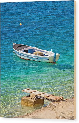 Old Wooden Fishermen Boat On Turquoise Beach Wood Print by Brch Photography