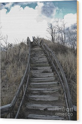Old Wooden Stairs Leading Up To Top Of A Sand Dune Wood Print by Christopher Purcell
