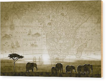 Old World Africa Antique Sunset Wood Print by Dana Bennett