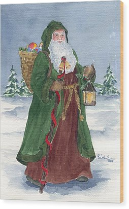 Old World Father Christmas Wood Print