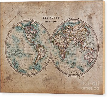 Old World Map In Hemispheres Wood Print by Richard Thomas