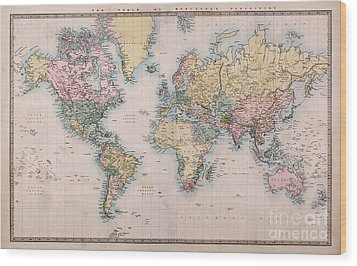 Old World Map On Mercators Projection Wood Print by Richard Thomas