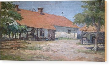 Wood Print featuring the mixed media Old  World Slovenian Farmhouse by Sherri  Of Palm Springs