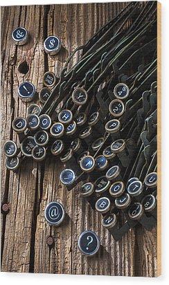 Old Worn Typewriter Keys Wood Print by Garry Gay