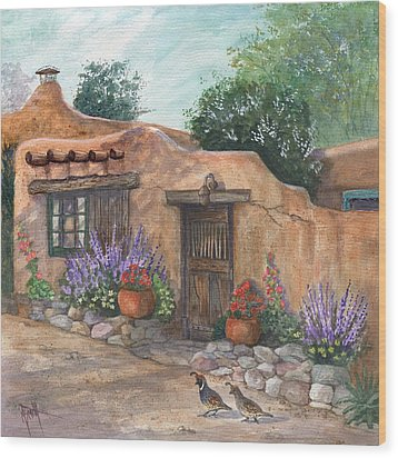Wood Print featuring the painting Old Adobe Cottage by Marilyn Smith