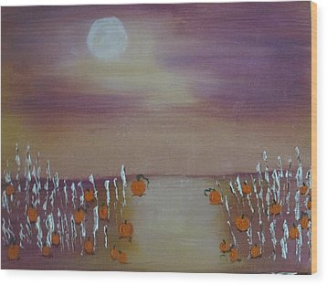 Olde Tyme Pumpkin Patch And Maze Wood Print by Sharyn Winters