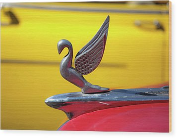 Oldsmobile Packard Hood Ornament Havana Cuba Wood Print by Charles Harden