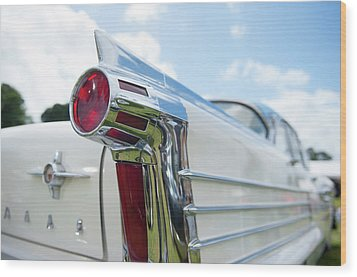 Oldsmobile Tail Wood Print by Helen Northcott