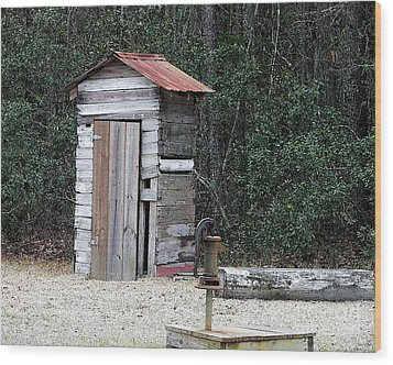 Oldtime Outhouse - Digital Art Wood Print by Al Powell Photography USA