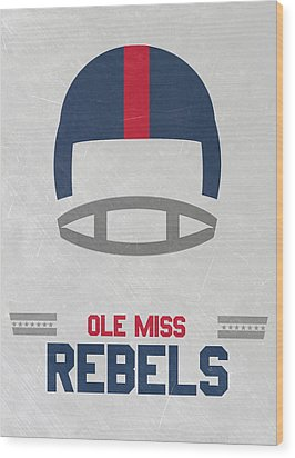 Ole Miss Rebels Vintage Football Art Wood Print by Joe Hamilton