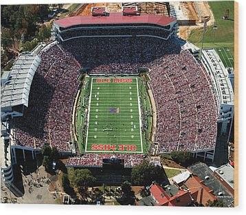 Ole Miss Vaught-hemingway Stadium Aerial View Wood Print by University of Mississippi - Imaging Services - Athletics