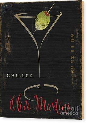 Olive Martini Wood Print