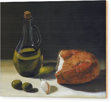 Olive Oil And Bread Wood Print