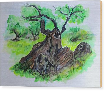 Olive Tree Wood Print by Clyde J Kell