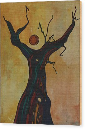 Olive Tree Woman Wood Print by Pat Purdy