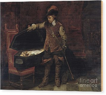 Oliver Cromwell Opening The Coffin Of Charles I  Wood Print by Hippolyte Delaroche