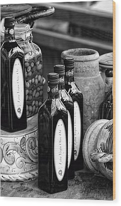 Olives And Oil Wood Print