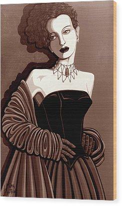 Olivia In Sepia Tone Wood Print by Tara Hutton
