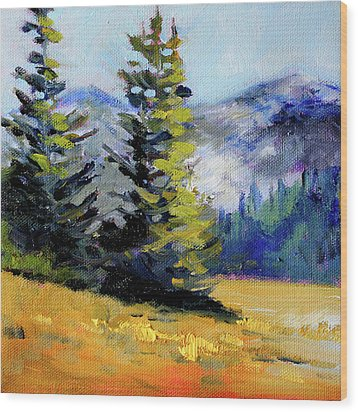 Wood Print featuring the painting Olympic Range by Nancy Merkle