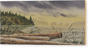 Wood Print featuring the painting Olympic Seashore Sunset by James Williamson