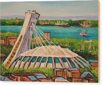 Olympic Stadium  Montreal Wood Print by Carole Spandau