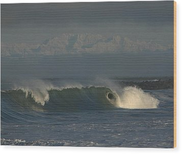 Olympics Over Halfmoon Bay Wood Print by Mike Coverdale