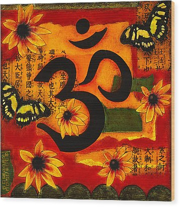 Wood Print featuring the mixed media Om by Gloria Rothrock