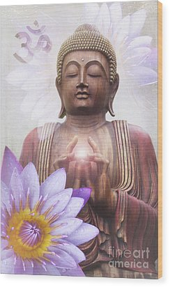 Om Mani Padme Hum - Buddha Lotus Wood Print