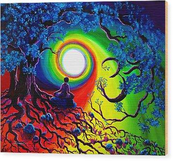 Om Tree Of Life Meditation Wood Print