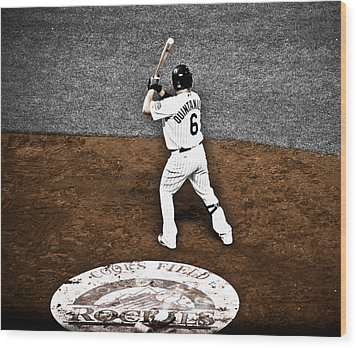 Omar Quintanilla Pro Baseball Player Wood Print by Marilyn Hunt