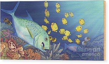 Omilu Bluefin Trevally Wood Print by Tammy Yee