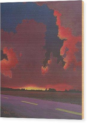 On A Dark Desert Highway Wood Print by Jack Malloch