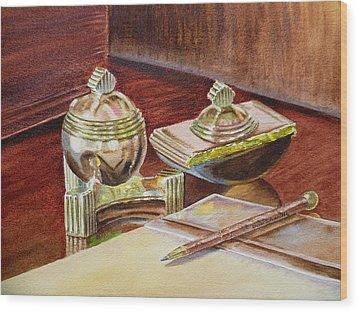 On A Desk At Eugene O Neill Tao House Wood Print by Irina Sztukowski