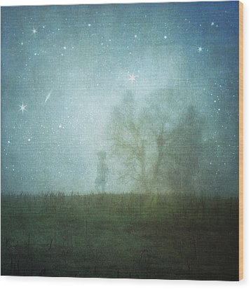 On A Starry Night, A Boy And His Tree Wood Print