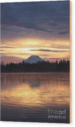 On American Lake  Wood Print by C E Dyer