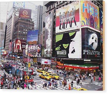 On Broadway New York Wood Print by Rosie Brown