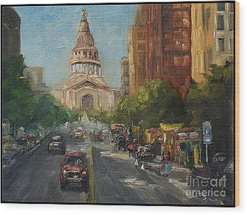 Wood Print featuring the painting On Congress by Lisa  Spencer