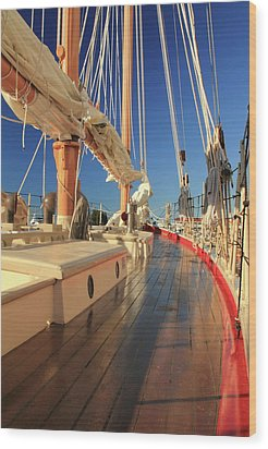 On Deck Of The Schooner Eastwind Wood Print by Roupen  Baker