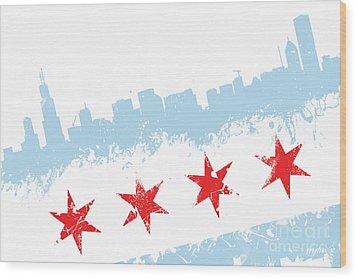Chicago Flag Lean Wood Print
