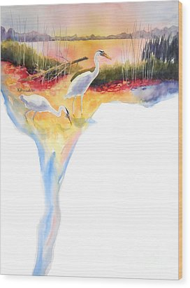 On Fire Wood Print by Kathy Braud