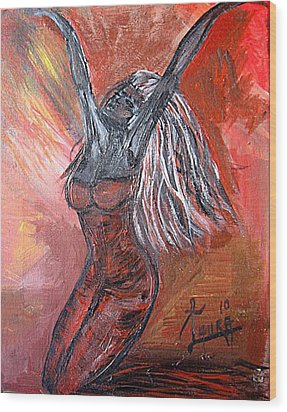 On Fire Wood Print by Laura Fatta