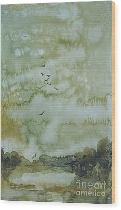 Wood Print featuring the painting On Golden Pond by Elizabeth Carr