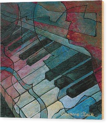 On Key - Keyboard Painting Wood Print by Susanne Clark