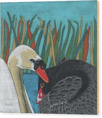 On Peaceful Pond Wood Print