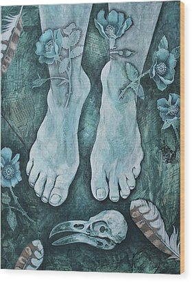 Wood Print featuring the mixed media On Sacred Ground by Sheri Howe