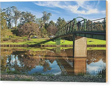 On The Banks Of The River By Kaye Menner Wood Print by Kaye Menner