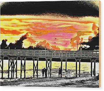 On The Beach Wood Print by Bill Cannon
