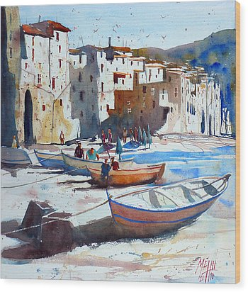On The Beach Of Cefalu Wood Print by Andre MEHU